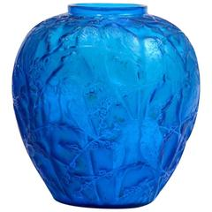 "Rene Lalique Electric Blue Vase ""Perruches"""