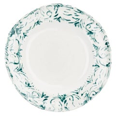 Hand Printed Green and White Dessert Plates, Set of Four