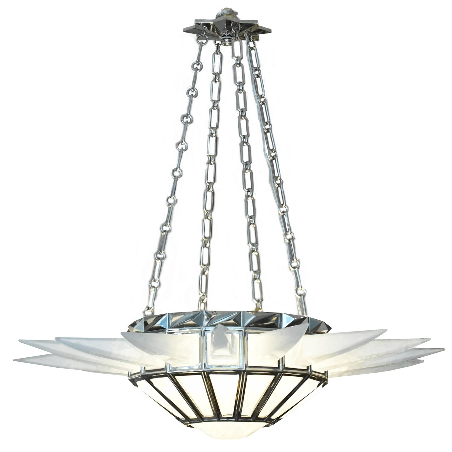 Contemporary Rock Crystal Quartz Chandelier For Sale at 1stdibs