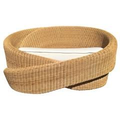 Loveseat Knotty Indoor-Outdoor Armchair, Rattan with Footrest or Ottoman