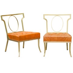 Hollywood Regency Pair of Leather and Brass Chairs by William Billy Haines