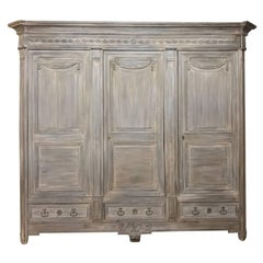 18th Century French Louis XVI Neoclassical Stripped Oak Armoire