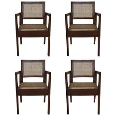 Cane Chairs by Pierre Jeanneret, circa 1950s, Set of Four