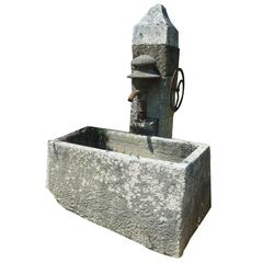 Antique Wall-Fountain with Ancient Manual Water Pump and Monolith Stone Basin