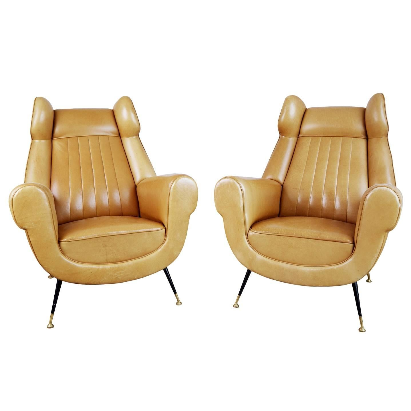 Gigi Radice for Minotti Leather Wingback Chairs, Pair, Italy circa 1960