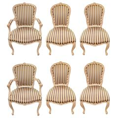 Stately Set of Six French Style Dining Chairs
