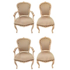 Stately Set of Four French Style Dining Chairs