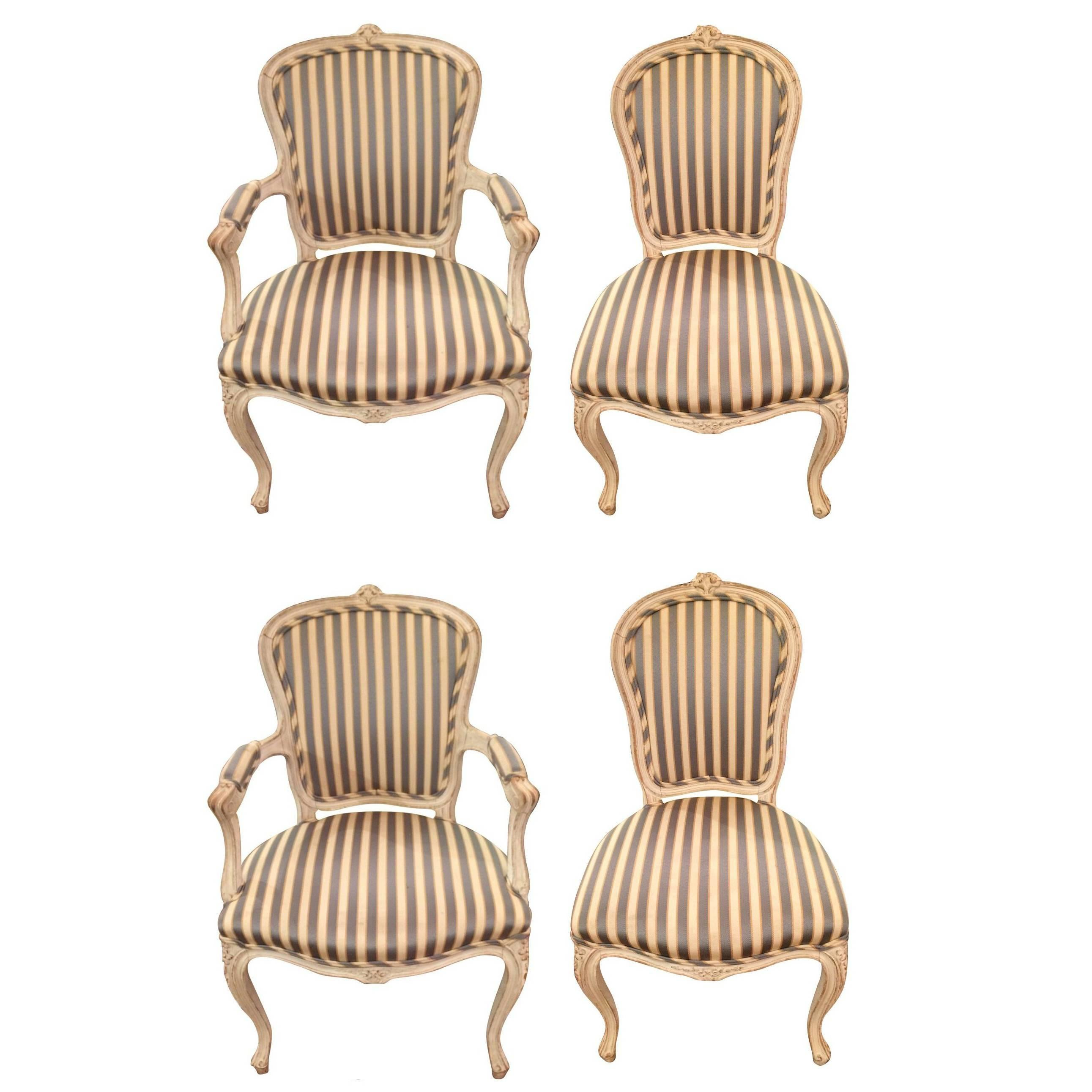 Charming Stately Set Of Four French Style Dining Chairs For Sale