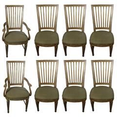 Suite of Eight Parcel-Gilt and Polychromed Dining Chairs