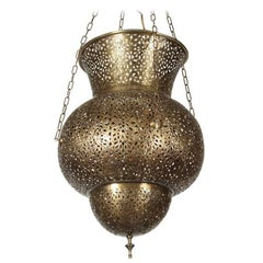 Large Moroccan Brass Chandelier in Alberto Pinto Style