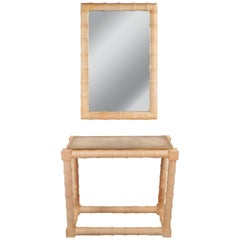 Mid-Century Modern Faux Bamboo Vanity and Mirror