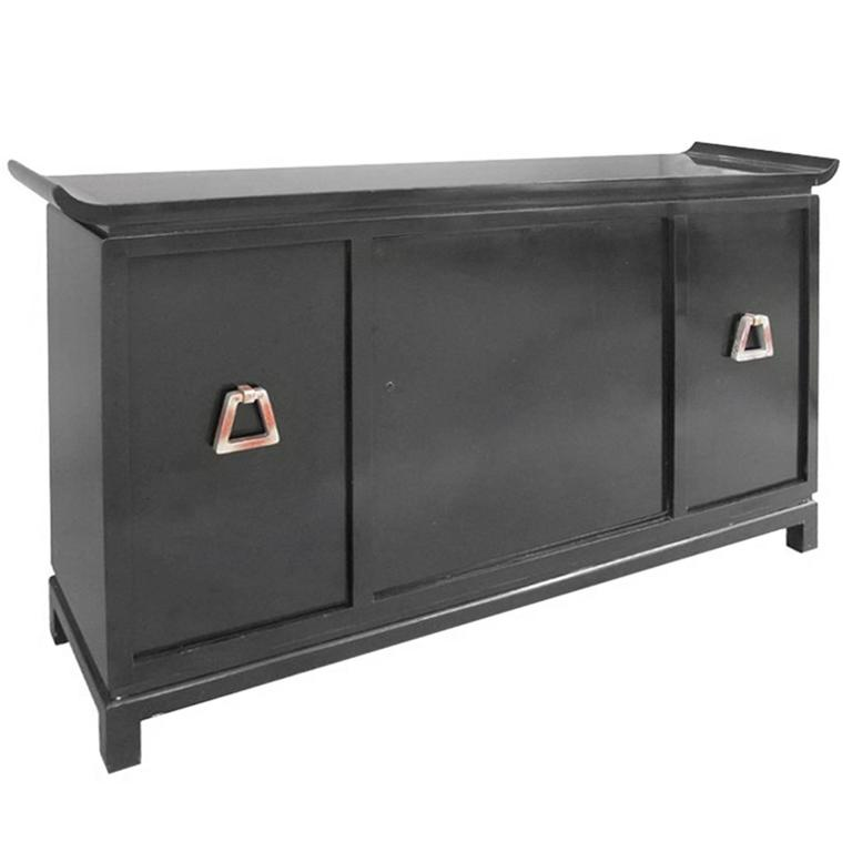 Mid-Century Modern Pagoda Style Black Lacquer Bar Cabinet by James Mont For Sale