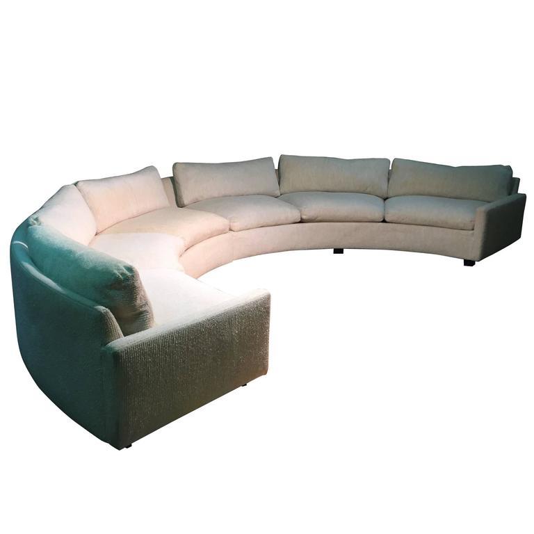 Original Vintage Signed Milo Baughman Semicircle Curve Sofa For Sale
