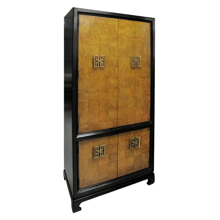 1970s American Chinoiserie Style Burl Wood Cabinet For Sale