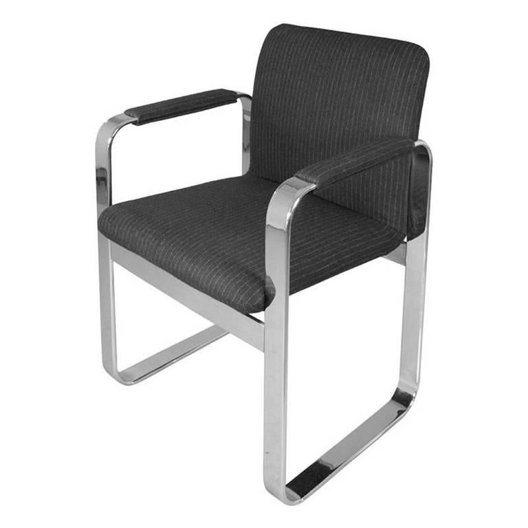 1970s Rounded Rectangular Chrome Armchair in Charcoal Pinstripe Upholstery