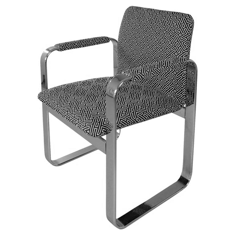 1970s Rounded Rectangular Chrome Armchair in Black & White Geometric Upholstery