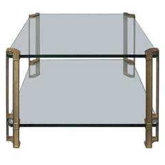 1970s Dutch Square Two-Tier Brass and Glass Side Table by Peter Ghyczy