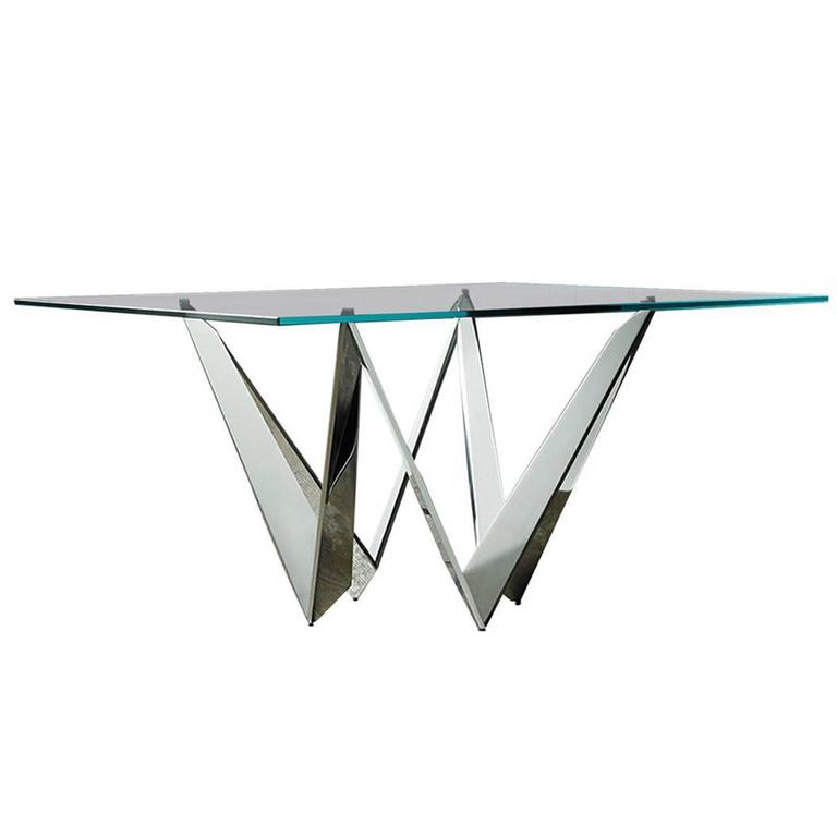 Starway Table in Polished Mirror Stainless Steel Base