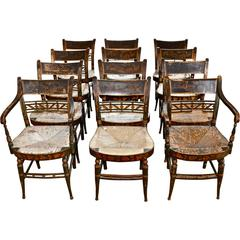 Rare Set of 12 Period Early 19th Century Sheraton Fancy Painted Dining Chairs