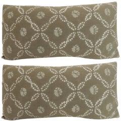 Pair of Vintage Japanese Shibori Decorative Bolster Pillows