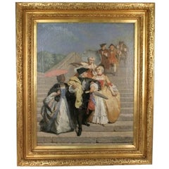 """1855 Dated Painting of """"Carnival in Venice"""" by Jean Carolus"""