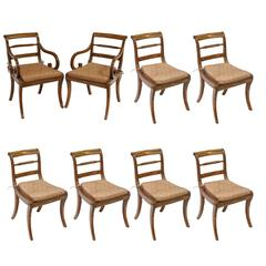Fine Set of Eight Regency Rosewood and Brass Dining Chairs