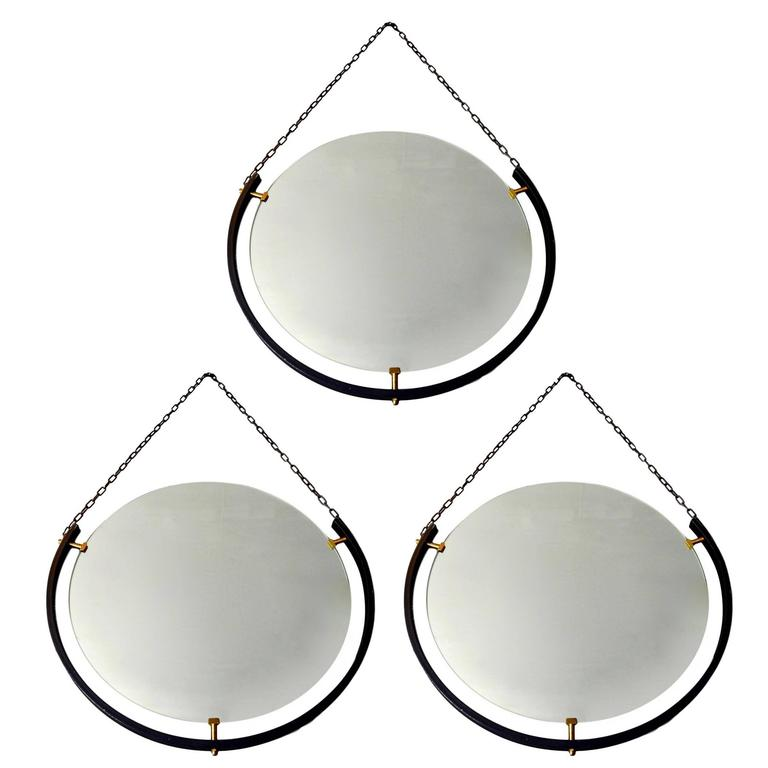Set of Round Italian Floating Mirrors