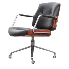 1960s Brown Wood and Black Leather Swivel Chair by Fabricius and Kastholm 'a'