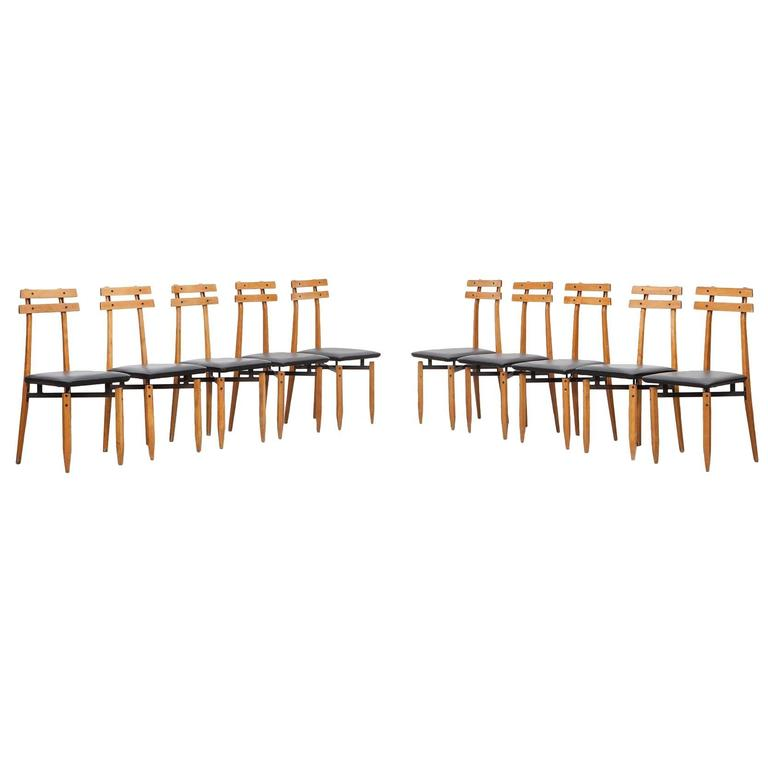 Ten 1960s Black Steel and Leather Set of Dining Chairs by Roberto Aloi