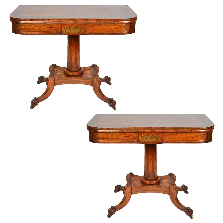 Pair of Regency Period Rosewood Brass Inlaid Card Tables