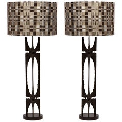 Pair of Custom Brutalist Metal Lamps