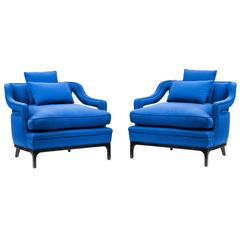 Pair of 1960s Club Chairs in the Style of James Mont