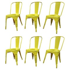 6 Vintage 1950 Tolix Chairs Yellow Patina
