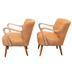 Pair of 1940s Vintage Midcentury Cocktail Chairs in Astro Orange Fabric