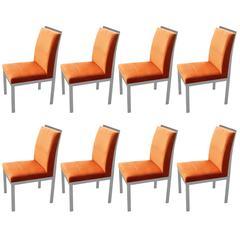 Set of Eight Modern Chrome Orange Velvet DIA Dining Chairs