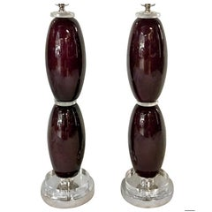 Aubergine Colored Glass Table Lamps