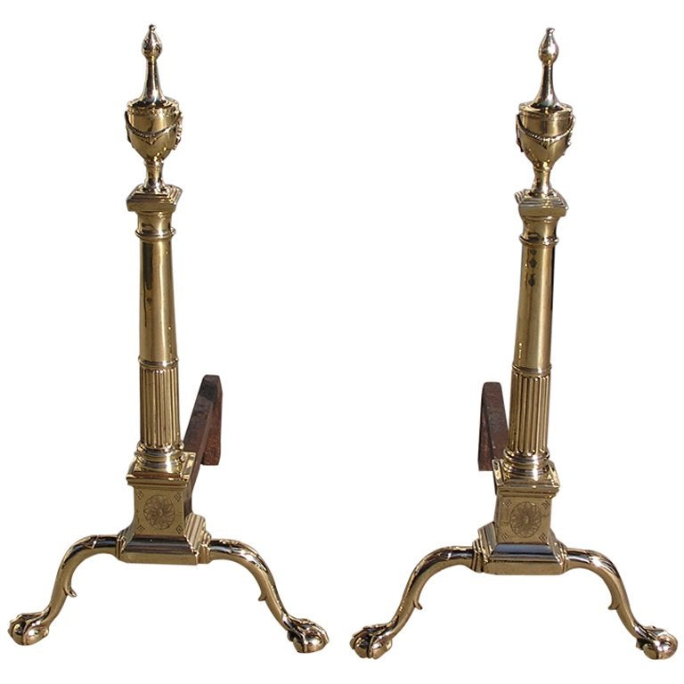 Pair of Philadelphia Brass Andirons