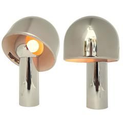 Rare Pair of Reggiani Magnetic Rotating Shade Chrome Table Lamp, 1960s, Italia