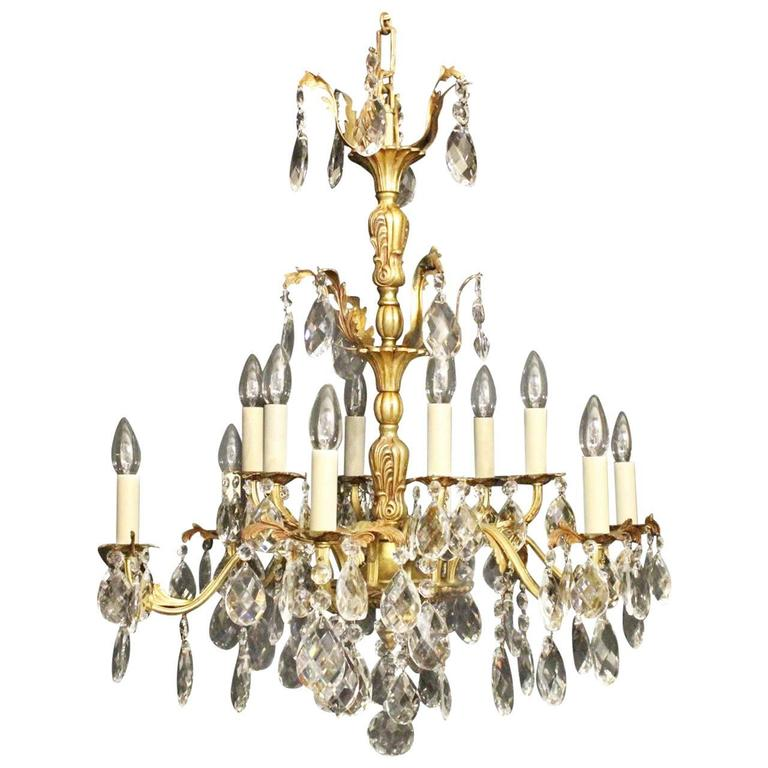 Italian Gilded Bronze and Crystal Antique Chandelier