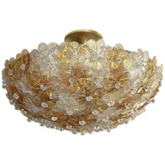 Murano Barovier Glass Floral Semi Flush Mount Ceiling Pendant Light