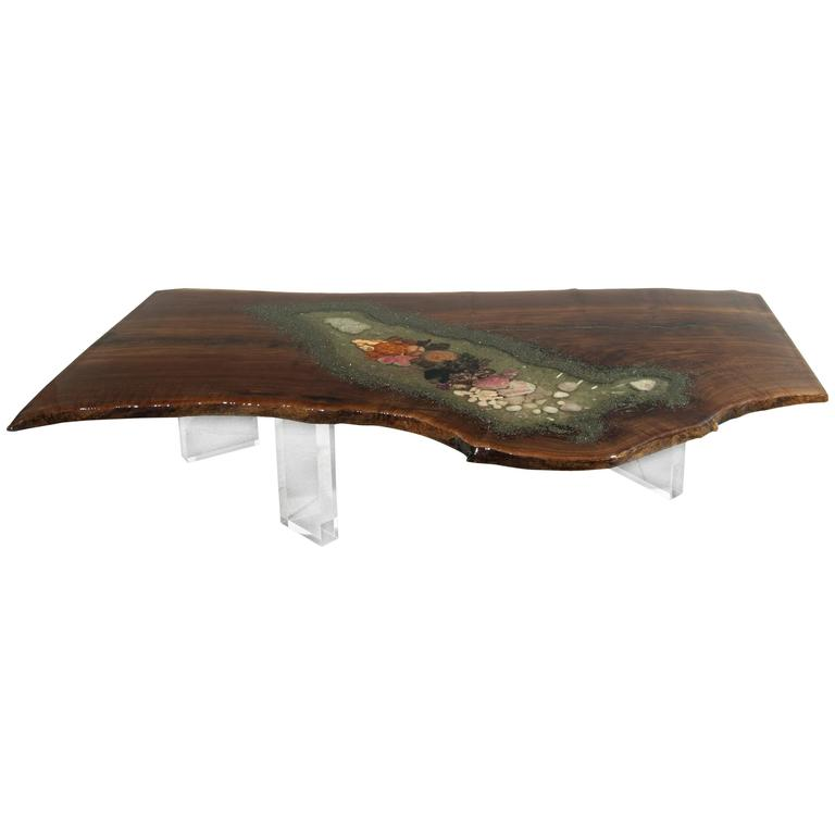Coffee Table, Center Table or Desk in Claro Walnut with Crystals and Gemstones For Sale