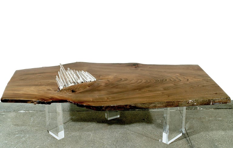 American Coffee, Cocktail, or Center Table in English Elm w/ Quartz Crystal & Lucite Base For Sale