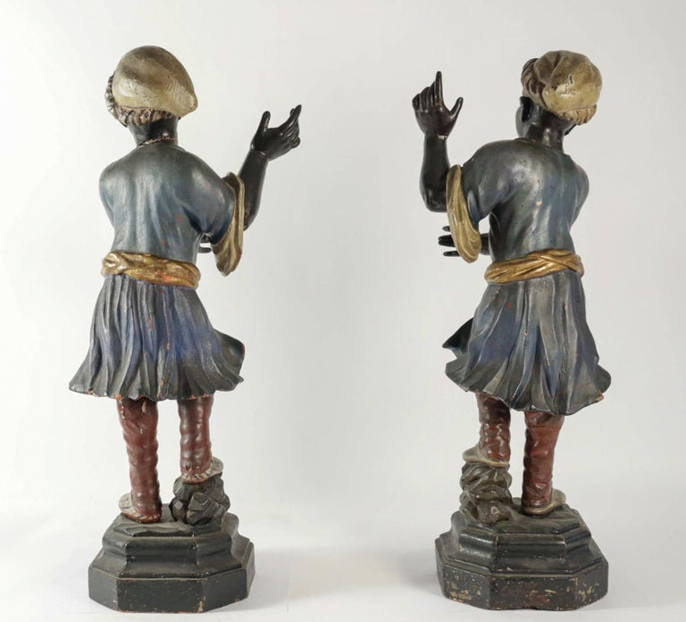Early 19th Century Venetian Nubian Torcheres in Painted Wood, circa 1800 For Sale 3