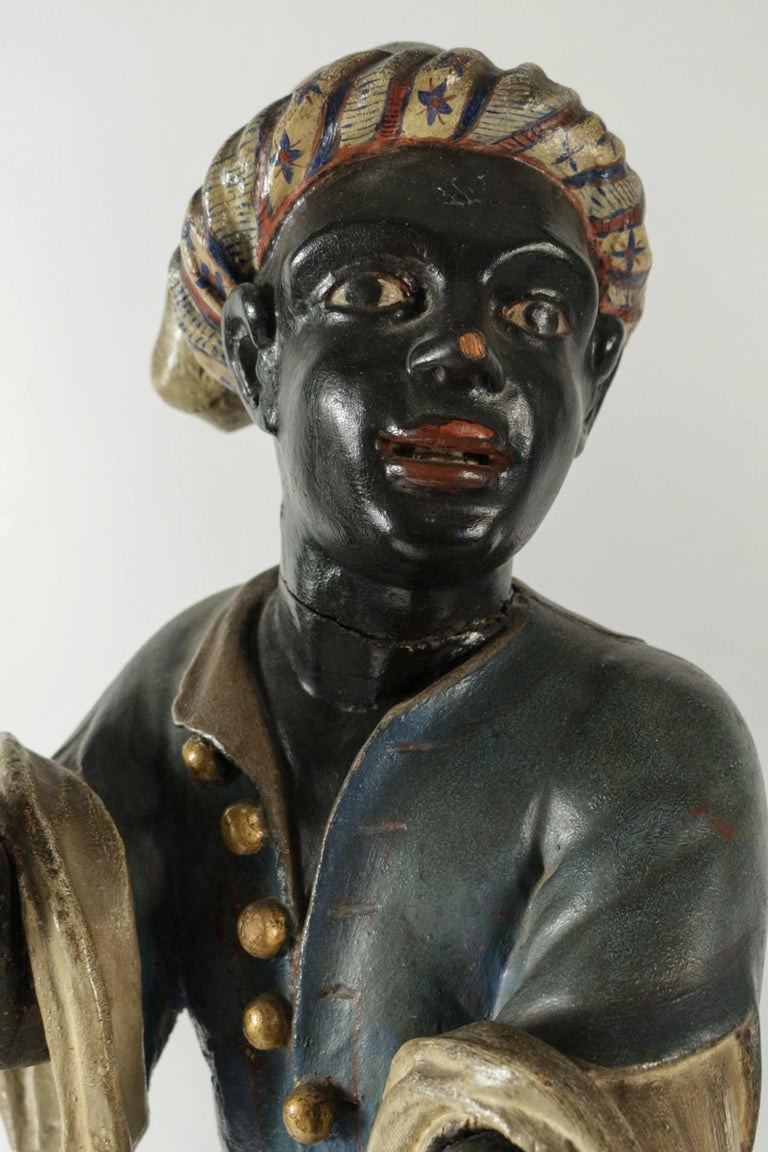 Early 19th Century Venetian Nubian Torcheres in Painted Wood, circa 1800 In Good Condition For Sale In Saint Ouen, FR