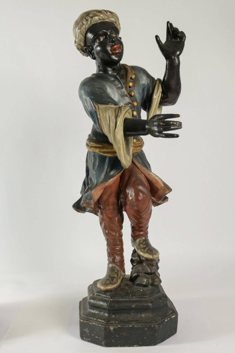 Hand-Carved Early 19th Century Venetian Nubian Torcheres in Painted Wood, circa 1800 For Sale