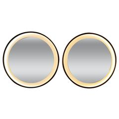 Pair of 1960s Rosewood Lighted Mirrors