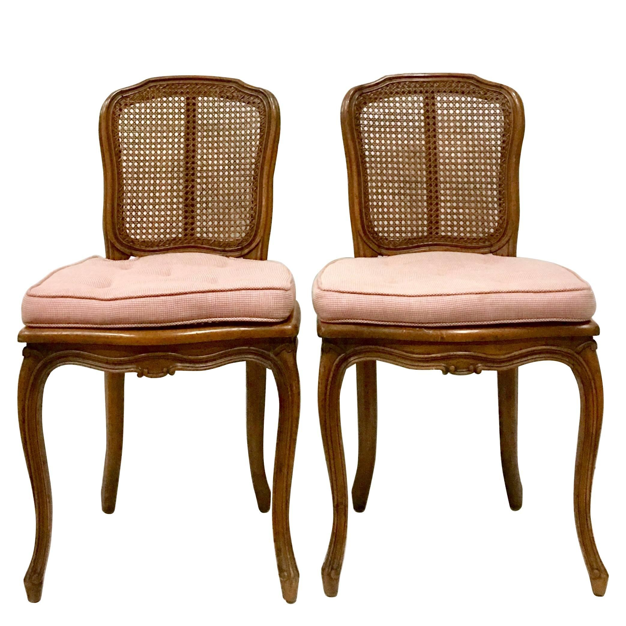 Mid Century Pair Of French Style Carved Wood And Cane Chairs For Sale