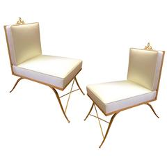 Colette Gueden Pair of Superb Refined Slipper Chairs Newly Covered in Silk Satin