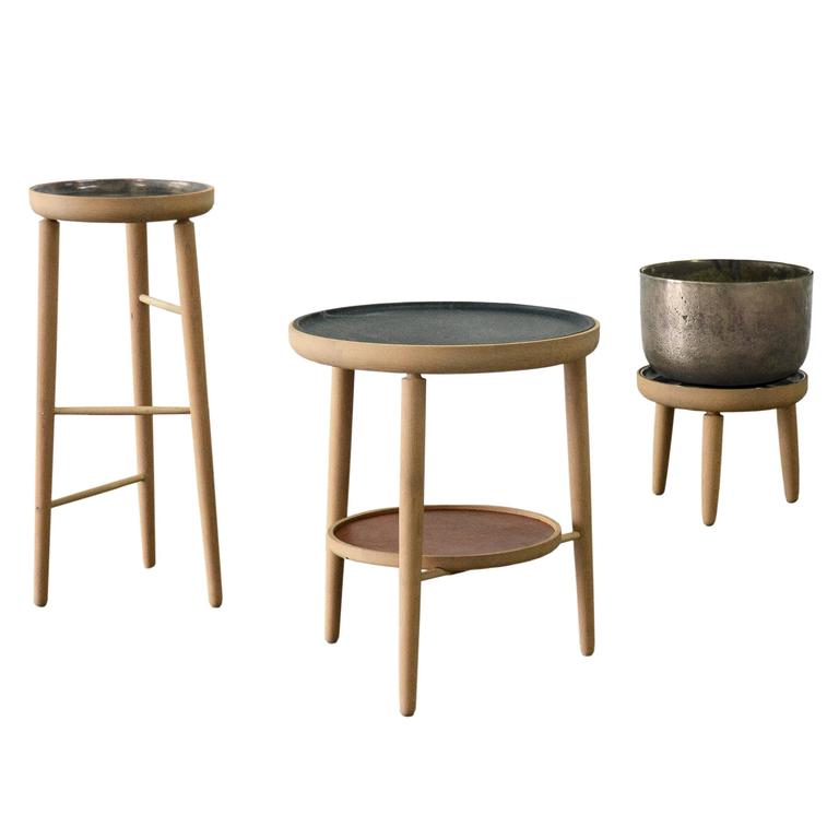 Baré Set, Side Tables with Soapstone, Cast Bronze Planter and Trays