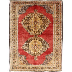 Antique Ottoman Design Turkish Rug with Double Medallion in Red, Gold, Navy Blue